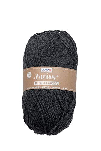 Glorex 5 1001 14 - Premium Wolle aus 100 % Acryl, leicht zu verarbeiten, vielseitig einsetzbar, wärmend, weich, nicht kratzend, 50 g, ca. 140 m, anthrazit