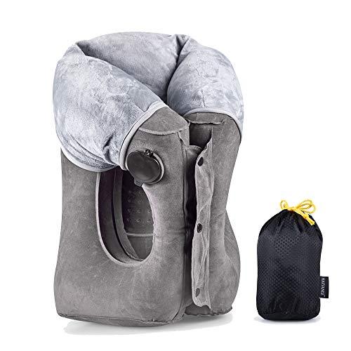 Kopfstützende Reisekissen- Multifunktion aufblasbare reisekissen für das Schlafen im Flugzeug Zug Bus Büro (Grau)