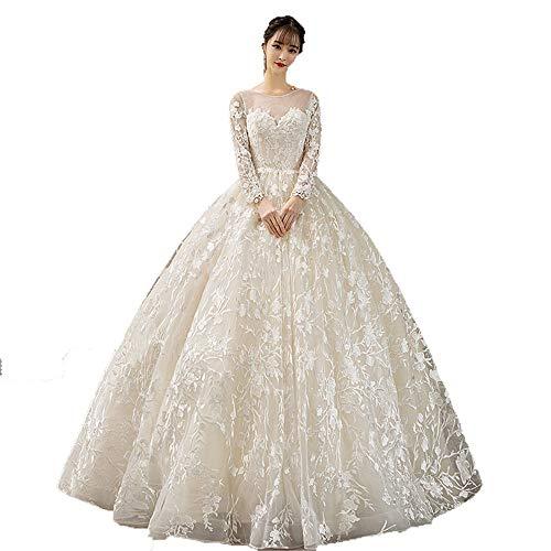 Vestido de novia Mujeres de manga larga floral de encaje apliques vestido...