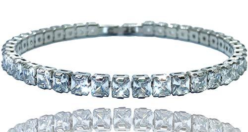 Ventr UK 4MM/6MM Silver Tennis Chain Bracelet CZ Diamond Link Men's Women's Bangle 7'-8' (Box Included) (8, 6MM Silver Bracelet)