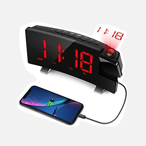 """LC.IMEEKE Projection Alarm Clock, 7"""" LED Curved-Screen Large Digital Display, Adjust Brightness Automatically, Dual Alarm Clock with 2 Alarm Sounds, Projection Clock on Ceiling Bedroom (red)"""