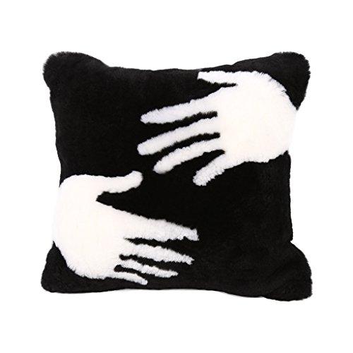 OYY Manufacture Almohada Minimalista Moderna del Amortiguador del sofá Palma Blanca Negra (Incluyendo Base, 50 * 50cm)