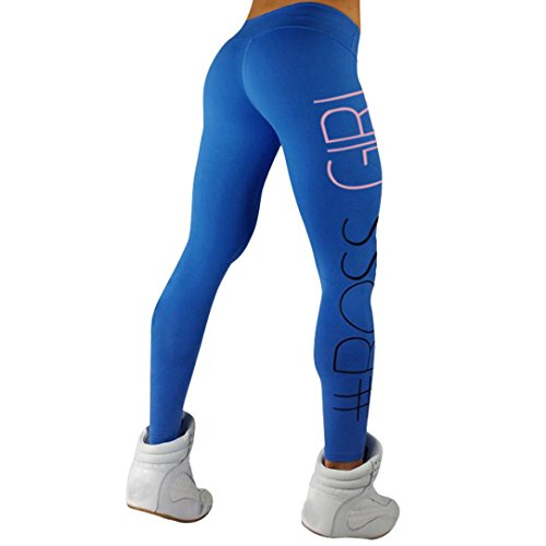 Women Cute Stretchy High Waist Fitness Yoga Leggings Pants Gym Running Tights Workout Trousers (L, Blue)