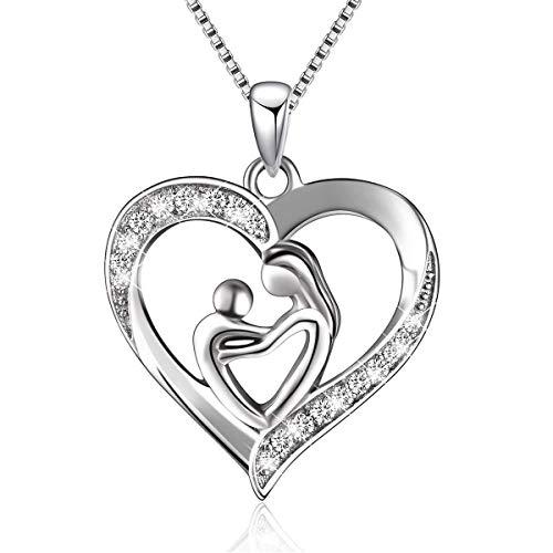 BGTY - Collar de plata esterlina 925 con colgante con forma de corazón Plateado