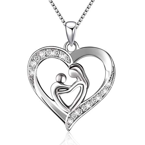 BGTY Sterling Silver Mothers Daughter Love Heart Pendant Necklace for Women, 18'