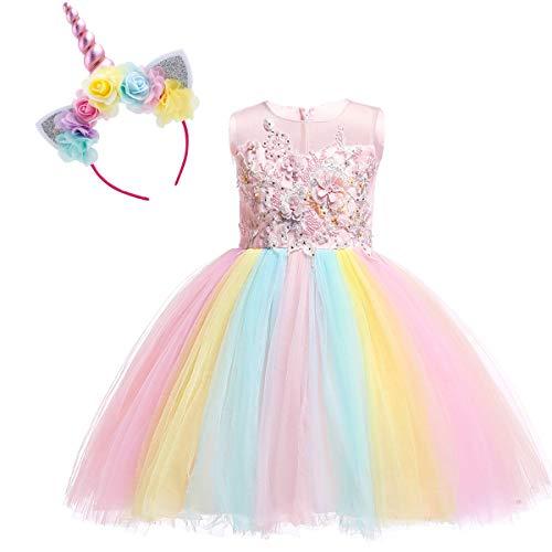 OBEEII Disfraz Unicornio Niña Vestido Unicornio Princesa Tutú con Diadema Traje de Carnaval Cumpleaños Comunión Cosplay 12-18 Meses