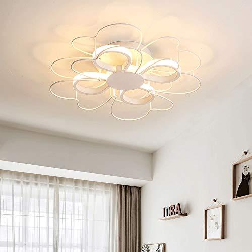 ZXT 24 W/28 W modern industrieel design, plafondlamp, 4 lampen, bloemen, afstandsbediening, schaal van aluminium, ijzer, metaal, lampenkap voor woonkamer, slaapkamer, eetkamer, verlichting (koffie) White - 58*10cm Stepless Dimming