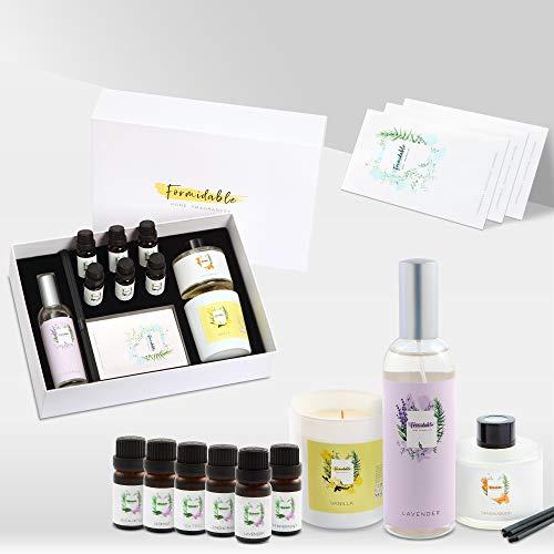 Juego de aceites esenciales 100 % naturales y biológicos | 6 aceites esenciales para la meditación y la relajación, vela de soja, spray de lavanda, 3 bolsitas perfumadas, difusor de ambiente