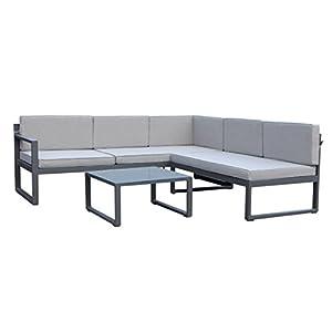 greemotion Loungeset Toulouse eisengrau/grau, Eckbank mit Tisch für In- und Outdoor, Bank mit Rückenverstellung…