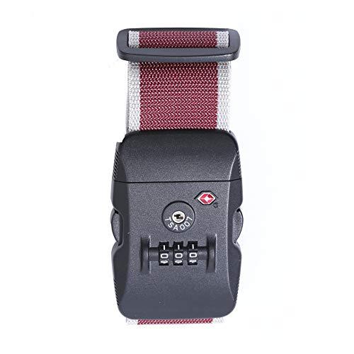 Logic(ロジック) スーツケースベルト TSAロック ベルト (全12色 レッド × ホワイト) [盗難・紛失・荷崩れ防止] スーツケース用 鍵付き ダイヤルロック タスロック 長さ調節可能