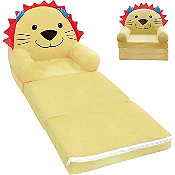 Pearlead Plush Foldable Kids Sofa Backrest Chair 2 in 1 Flip Open Couch Bed for Kids Upholstered Chair Toddler Recliner Cute Lion Toddler Armchair for Living Bedroom Playroom 3-Fold 47