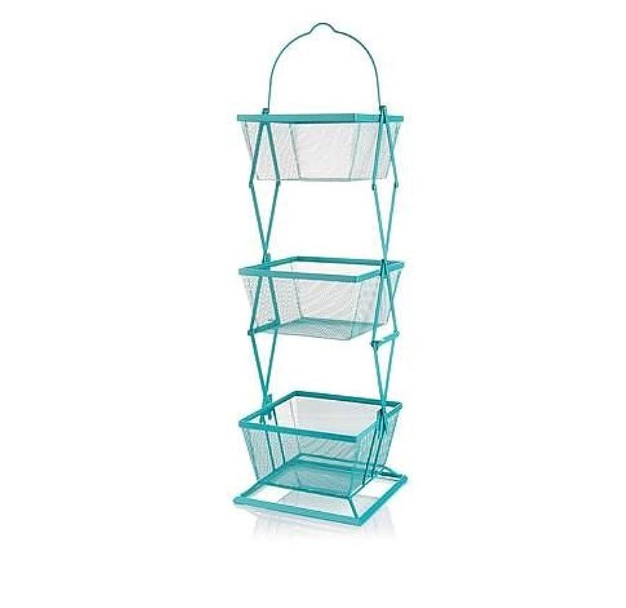 Origami 3-Tier Produce Basket Vegetable Bin Snack Organizer | Fruit Rack, Onion Basket, Three Tiers, Kitchen Counter Storage, for Farmhouse Veggies Fruits or Storage Organizer, Metal Wire | Turquoise