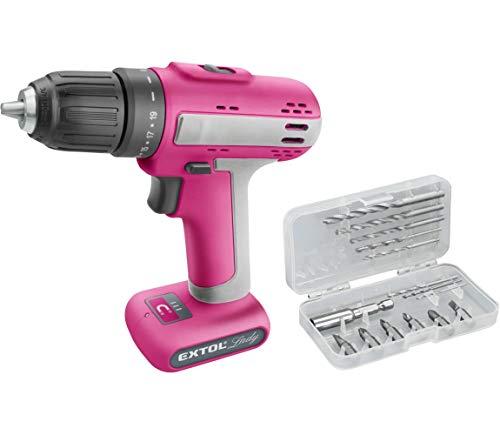 Extol Lady 402402 - Taladro atornillador inalámbrico (12 V, incluye puntas y brocas), color rosa