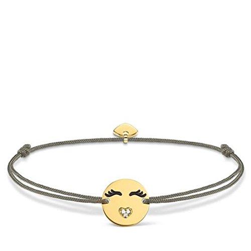 Thomas Sabo Damen-Armband Little Secret Emoticon mit Herzmund 925 Sterling Silber gelbgold vergoldet Grau LS045-383-5-L20v