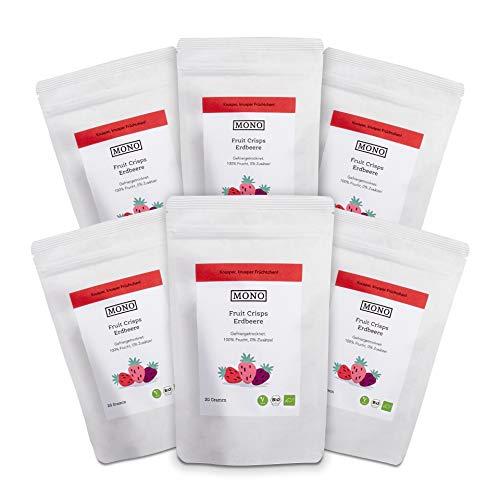 Mono Fruit Crisps Erdbeere, gefriergetrocknete Früchte - 100% Frucht, 100% Bio, 0% Zusätze - 6x 20gr