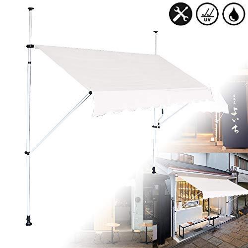 Klemmmarkise Balkon, Handkurbel, höhenverstellbar, UV-beständig, ohne Bohren, 100% Polyester, Beige, 350 x 120 cm