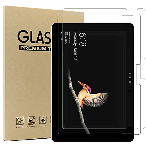 2xMicrosoft Surface Go 25 cm (10 Zoll) Bildschirmschutzfolie,Ash-case HD Ultra-klar Anti-Kratz Anti-Fingerabdruck Bildschirmschutzfolie Glas Panzerglas, Ro&ed Corners 2.5D, 9H Festigkeit
