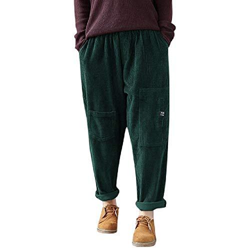 CZYTN Hose für Damen, Winter, Samt, gerippt, Hose, mehrere Taschen, elastischer Taille, große Größe, warme Hose Mode Gr. XXXXL, grün