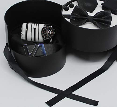 Caja de doble piso, regalo para hombre, joyas, costardos, corbatas, pajarita y pañuelo, gemelos, reloj, pulsera, collar, cinturón (cuero negro)