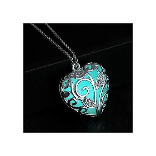 lumentics Nachleuchtende Herzkette blau - Im Dunkeln leuchtender Schmuck. Selbstleuchtender Leuchtschmuck mit Kette. Herz Anhänger. Glühschmuck.