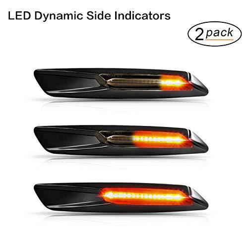 Indicatore laterale a LED Gempro 2XLED ambra dinamiche Indicatore di direzione laterale 18 SMD con non polarità CAN bus Error Free OE Presa per Fumè per E81 E82 E87 E88 E90 E91 E92 E93 E60 E61 E84 E83