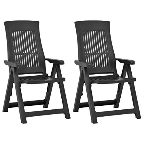 vidaXL 2X Gartenstuhl Verstellbar Stuhl Klappsessel Klappstuhl Campingstuhl Hochlehner Stühle Gartenstühle Gartenmöbel Kunststoff Moccafarben