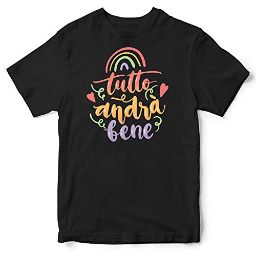 Publiassia Stamperia Andrà Tutto Bene T- Shirt 7N Idea Regalo Maglia Maglietta Autocertificazione Covid 19 Coronavirus pandemia Quarantena 2020#Andràtuttobene #Restiamoacasa (L)