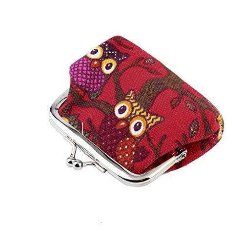 Multicolor búho diseño moneda dinero bolso monedero cartera lona para mujeres chica señora rojo
