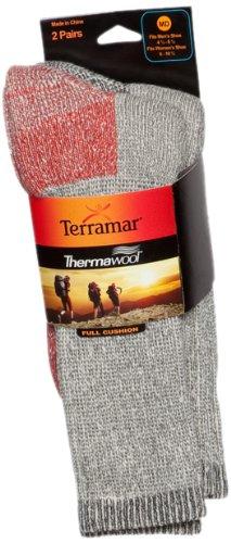 Terramar Thermal Crew Socks (2 Pack), Red/Black, Medium/9-11