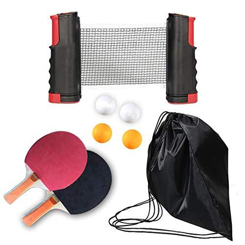 AMZTP Red De Raqueta De Ping Pong Portátil, Rack Telescópico De Red De Ping Pong con Paleta De Tenis De Mesa De 1 Par 4 PCS Balls Kit