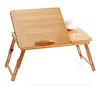 EVST portátil de bambú plegable portátil escritorio portátil bandeja altura ajustable mesa cama mesa con cajón (50cm*30cm*30cm without Ventilation Slots)