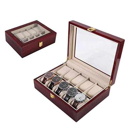 KUANDARGG Caja de reloj de madera para hombre, caja de almacenamiento con cajones, caja de 10 ranuras de visualización de reloj, caja de almacenamiento de accesorios para hombres