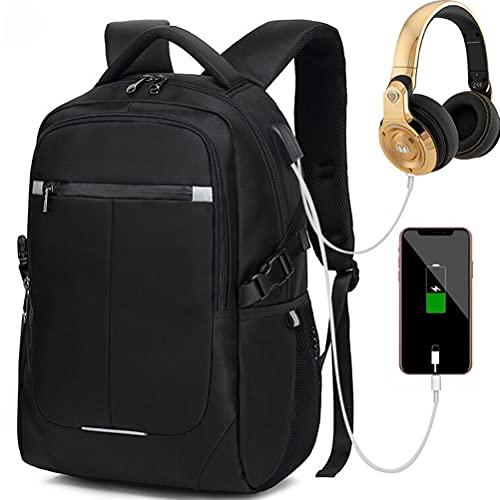 KIUY Mochila para portátil de Viaje Mochila Elegante para Ordenador de 15,6 Pulgadas con Puerto de Carga USB para Trabajo/Negocios/Universidad/Hombres/Mujeres