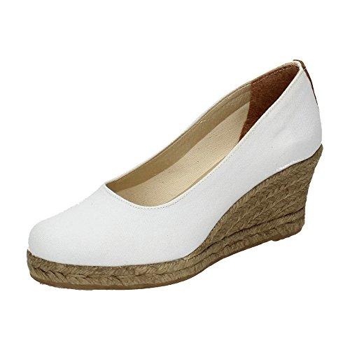 TORRES 4012 Zapatos CUÑA Esparto Mujer Alpargatas Blanco 37