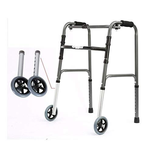 ZHANGYUNSXD Rollator para Ancianos Plegable Geriátrica Ancianos Walker Plegable con 2 Ruedas, balanceo Rollators Altura Ajustable Ayuda a la Movilidad Muleta Andador