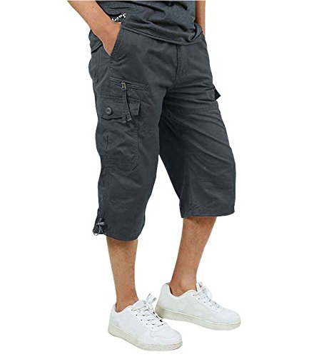 FASKUNOIE Men's Sport Shorts Outdoor Lightweight Cotton Waterproof Capri Shorts Three Quarter Tactical Cargo Short Winter Pants Gray