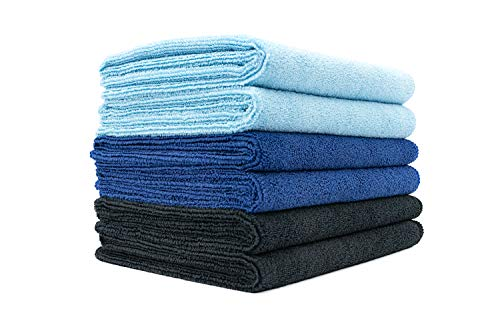 The Rag Company - Sport & Workout Towel - Gym, Exercise, Fitness, Spa, Ultra Soft, Super Absorbent, Fast Drying Premium Microfiber, 320gsm, 16in x 27in, Light Blue + Royal Blue + Black (6-Pack)