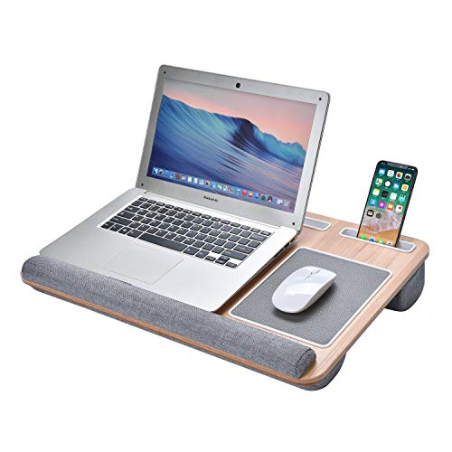 Harcas Laptop Tray Stand with Built in Cushions for Comfort. Unique Design Including Mouse Pad, Wrist Cushion for Comfort, Tablet, Phone and Pen Holder. Perfect for 15.6-inch Laptops (Wood Grain)