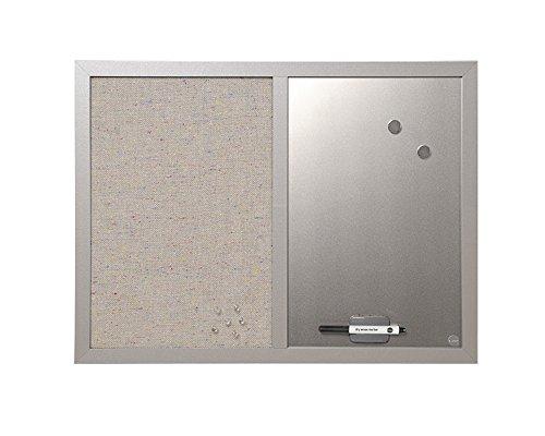 Bi-Office Kombitafel Lavander, Pinnwand und Whiteboard, Perlenfarben Textiloberfläche und Silber Magnetisch, Perlenfarben MDF Rahmen 22 mm dicker, 60 x 45 cm