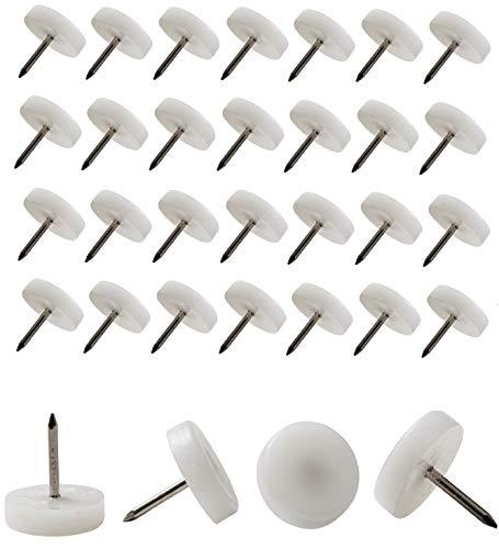 IPEA Piedini Scivoli con Chiodo per Mobili Sedie e Tavoli – 50 Pezzi – Scivolini Plastica Rotondi AntiGraffio per Protezione Pavimento, Colore Bianco, Diametro 20 mm