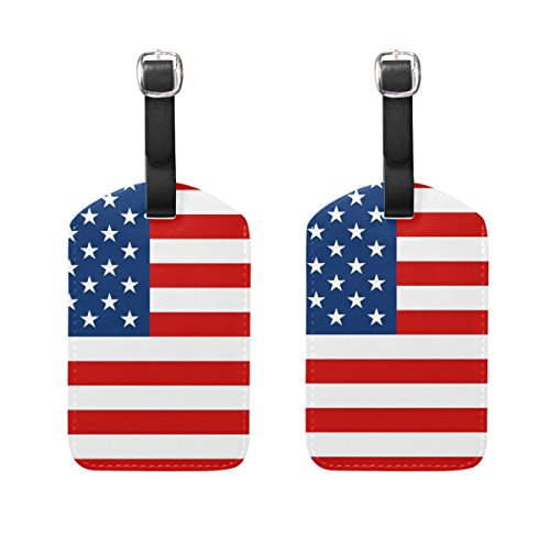 COOSUN American Flag Luggage Tags Travel Labels Tag Name Card Holder for Baggage Suitcase Bag Backpacks, 2 PCS