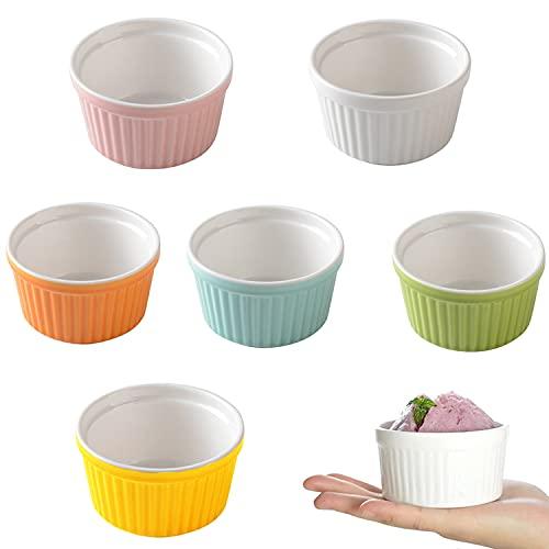 Set Moldes para Soufflé, 6 Piezas Cuencos para Crema Brulee in Porcelana, 150 ml Cuencos para Postres, Ramekins para Hornear para Mermeladas, Helados, Postres, Seis Colores