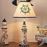 LITFAD Modern Bedside Table Lamp 1 Light Lighthouse LED Reading Light Nautical Style Resin Desk Lamp in Blue for Bedroom Kids Room Office - Rudder