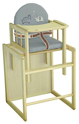 roba Chaise haute combinée, chaise haute avec plateau, convertible en table et chaise, bois naturel, assise et dossier rembourrés avec revêtement en PU 'Jumbotwins'.