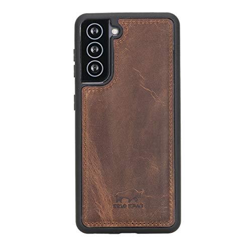 Solo Pelle Lederhülle für das Samsung Galaxy S21 5G in 6.2 Zoll Hülle aus echtem Leder, Model: Stanford (Vintage Braun)