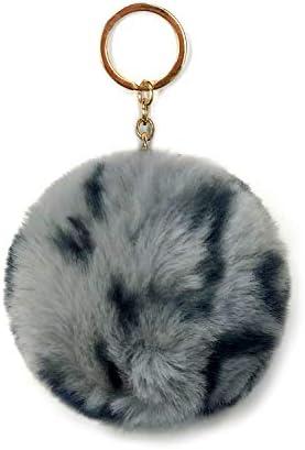 SIMPLICHIC Faux Animal Print Fur Ball Pom Pom Keychains Round Shape Charm Grey product image
