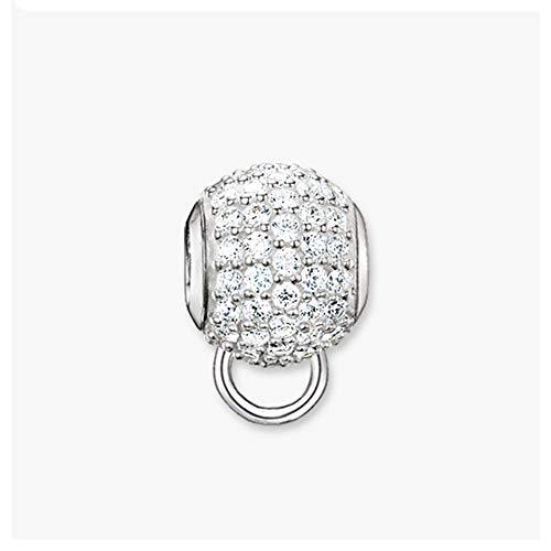 DIY Perlen Carrier weiß CZ Pavé-Fassung Charm 5 mm Loch, Modeschmuck, romantisches Geschenk für Frauen Mädchen Armbänder Halsketten
