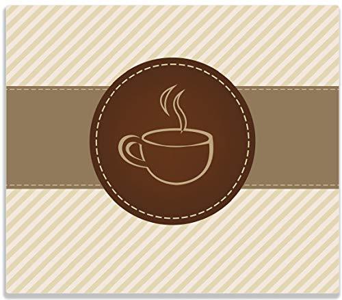Wallario Herdabdeckplatte/Spritzschutz aus Glas, 1-teilig, 60x52cm, für Ceran- und Induktionsherde, Kaffee-Menü - Logo Symbol für Kaffee