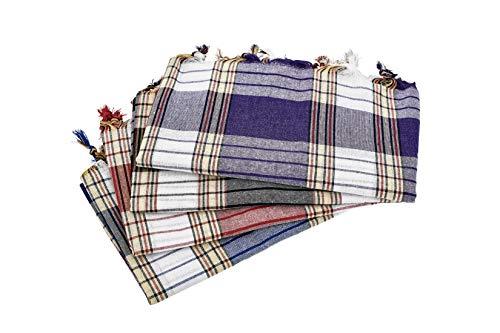 Carenesse Hamamtuch CLASSIC 4er Set, rot blau schwarz lila kariert, 100% Baumwolle, 80 x 170 cm, leicht, kleines Packmaß, Pestemal, Saunatuch, Badetuch, Strandtuch, Handtuch Backpacker, Turkish Towel