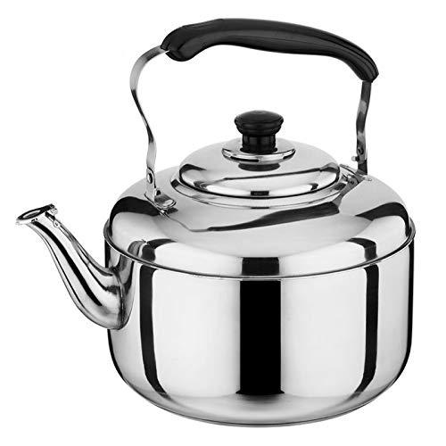 WKDZ Bollitore da tè in Acciaio Inox 100 per Cento, bollitore da tè Senza Soluzione di continuità per Stufa in Acciaio Inox fischio con Manico di Raffreddamento (Colore : Silver, Taglia : 5L)